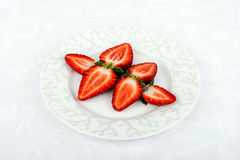 Fresh strawberries. Some fresh strawberries on the plate stock images
