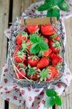 Fresh strawberries. Fresh strawberry in a wattled basket Stock Image