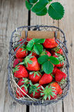 Fresh strawberries. Fresh strawberry in a wattled basket Stock Images