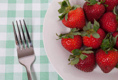 Fresh Strawberries. On a light green tablecloth Royalty Free Stock Image