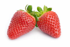 Fresh strawberries. Close up of two fresh strawberries on white stock photos