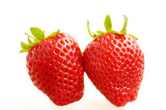 Fresh strawberries. Two strawberries Stock Image