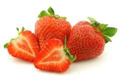 Fresh Strawberries And A Cut One