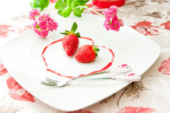 Fresh strawberries  as healthy and romantic desser Royalty Free Stock Photos