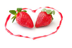 Fresh strawberries  as romantic dessert  on a plat Royalty Free Stock Images