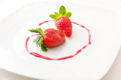 Fresh strawberries  as romantic dessert  on a plat Royalty Free Stock Image