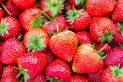 Fresh strawberries background. Close up fresh strawberries background and background from freshly harvested strawberries, directly above Stock Photos