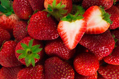Fresh strawberries. Background from freshly strawberries. Top view royalty free stock photo