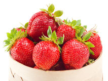 Fresh strawberries in basket on white Royalty Free Stock Photos