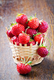 Fresh strawberries in a basket Stock Photos