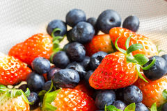 Fresh strawberries and blueberries Stock Photos