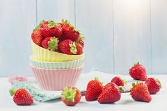 Fresh strawberries. In a bowl stock image