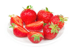 Fresh strawberries in bowl. Isolated on white background Stock Photography