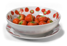 Fresh strawberries in bowl isolated on white background stock photo