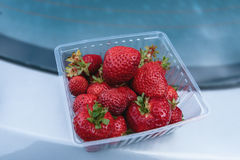 Fresh strawberries in a box Stock Photos