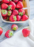 Fresh strawberries in a box, raw food, summer berries, selective Royalty Free Stock Photography