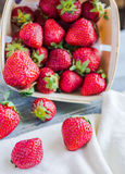 Fresh strawberries in a box, raw food, summer berries, selective Stock Photography