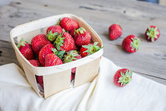 Fresh strawberries in a box, raw summer berries, selective focus Royalty Free Stock Photos