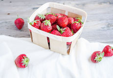 Fresh strawberries in a box, rustic, summer raw food, selective Stock Photography