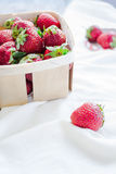 Fresh strawberries in a box, rustic, summer raw food, selective Stock Photos