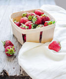 Fresh strawberries in a box, rustic, summer raw food, selective Stock Image