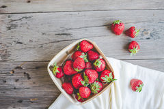 Fresh strawberries in a box, summer berries, selective focus Stock Image