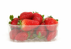 Fresh strawberries in box on white Royalty Free Stock Photos