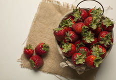 Fresh strawberries on burlap background Royalty Free Stock Photo