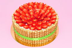 Fresh strawberries cake Royalty Free Stock Photography
