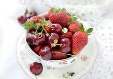 Fresh strawberries and cherries Stock Image