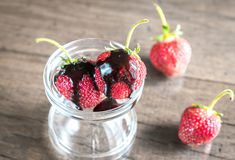 Fresh strawberries with chocolate topping Royalty Free Stock Images