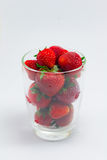 Fresh strawberries in clear glass Royalty Free Stock Photo