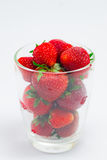 Fresh strawberries in clear glass Royalty Free Stock Images