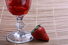 Fresh strawberries in a cocktail glass Stock Photo
