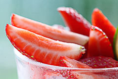 Fresh strawberries in a cocktail glass Royalty Free Stock Photography