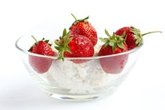 Fresh strawberries and cottage cheese. Royalty Free Stock Photo
