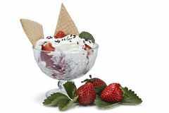 Fresh strawberries and cream Royalty Free Stock Images