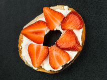 Fresh Strawberries and Cream Cheese On a Bagel Royalty Free Stock Images