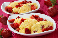 Fresh strawberries with cream dessert Royalty Free Stock Photo