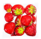 Fresh strawberries in a cube, isolated Stock Photos