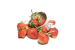 Fresh strawberries In cup , isolate Stock Photo