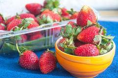 Fresh strawberries in cup Stock Photos