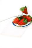 Fresh strawberries dish over white Stock Photography