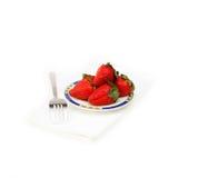 Fresh strawberries dish over white Stock Image