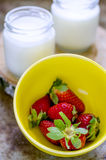 Fresh strawberries and fresh yoghurt in a glass Stock Photography