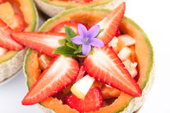 Fresh Strawberries In Fruit Salad Royalty Free Stock Image