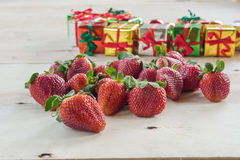 Fresh strawberries and  gift box Stock Photos