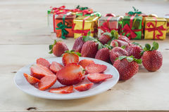 Fresh strawberries and  gift box Stock Photography