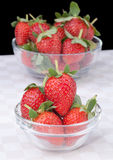 Fresh Strawberries in glass bowl. Picture of Fresh Strawberries in glass bowl Stock Photo