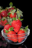 Fresh strawberries in glass bowl. Picture of Fresh strawberries in glass bowl Stock Photos